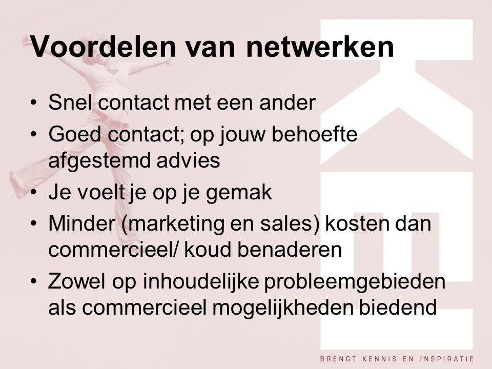 Voordelen van netwerken Snel contact met een ander Goed contact; op jouw behoefte afgestemd advies Je voelt je op je gemak Minder (marketing en sales)