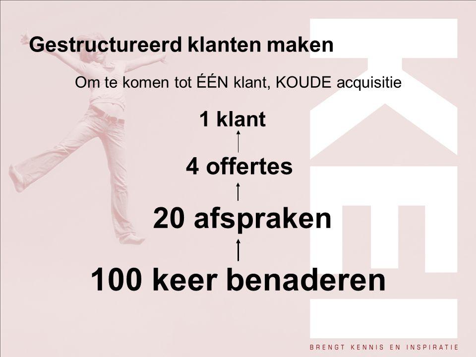 Gestructureerd klanten maken Om te komen tot ÉÉN klant, KOUDE acquisitie 1 klant 4 offertes 20 afspraken 100 keer benaderen