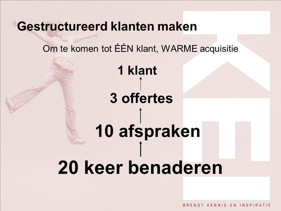 Gestructureerd klanten maken Om te komen tot ÉÉN klant, WARME acquisitie 1 klant 3 offertes 10 afspraken 20 keer benaderen