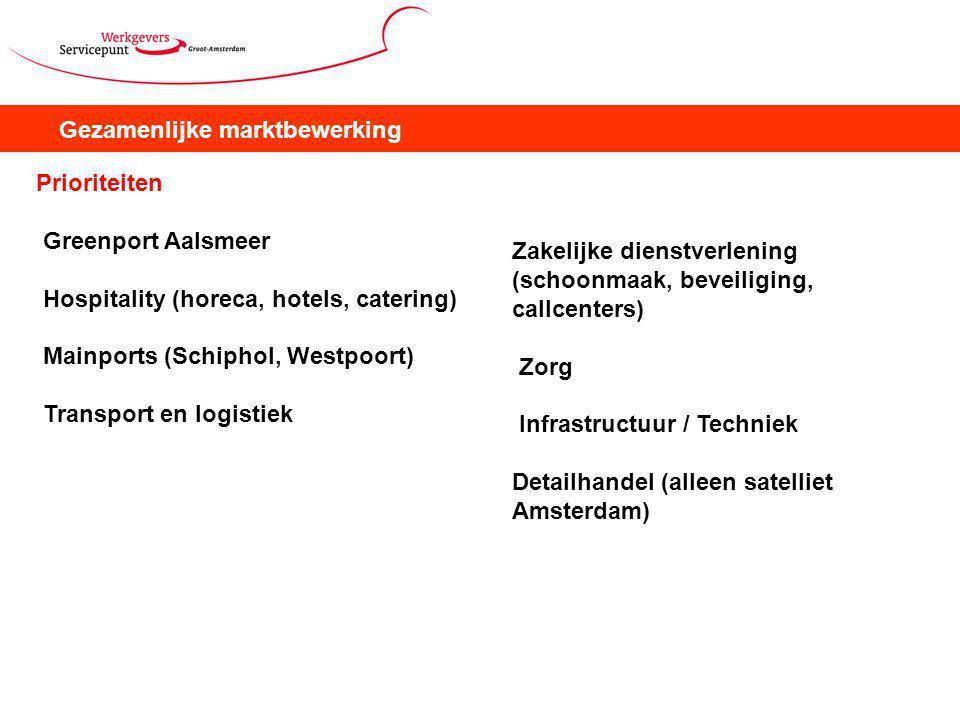 Gezamenlijke marktbewerking Prioriteiten Greenport Aalsmeer Hospitality (horeca, hotels, catering) Mainports (Schiphol, Westpoort) Transport en logistiek Zakelijke dienstverlening (schoonmaak, beveiliging, callcenters) Zorg Infrastructuur / Techniek Detailhandel (alleen satelliet Amsterdam)
