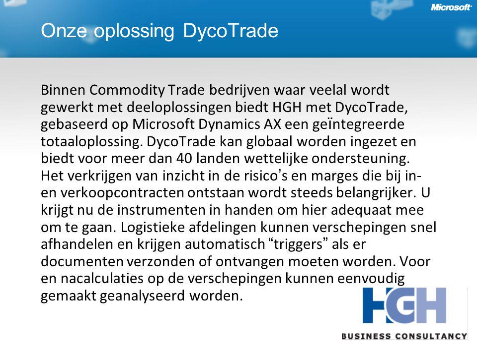 Onze oplossing DycoTrade Binnen Commodity Trade bedrijven waar veelal wordt gewerkt met deeloplossingen biedt HGH met DycoTrade, gebaseerd op Microsoft Dynamics AX een ge ï ntegreerde totaaloplossing.