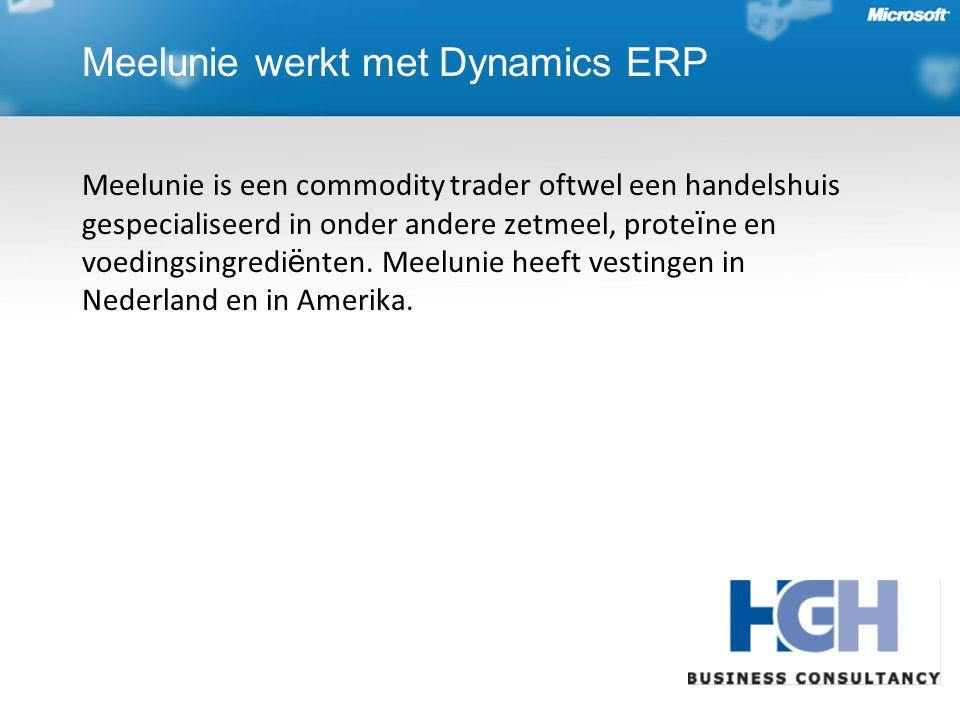 Meelunie werkt met Dynamics ERP Meelunie is een commodity trader oftwel een handelshuis gespecialiseerd in onder andere zetmeel, prote ï ne en voedingsingredi ë nten.