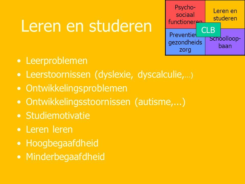 Leren en studeren Leerproblemen Leerstoornissen (dyslexie, dyscalculie,...) Ontwikkelingsproblemen Ontwikkelingsstoornissen (autisme,...) Studiemotiva
