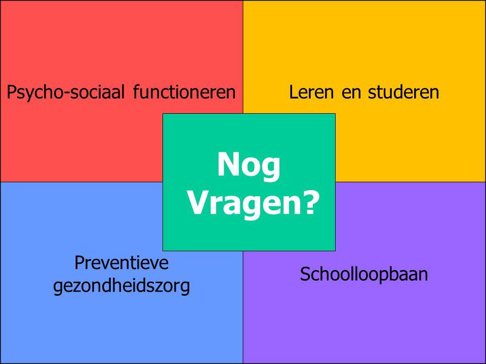 Psycho-sociaal functionerenLeren en studeren Preventieve gezondheidszorg Schoolloopbaan Nog Vragen?