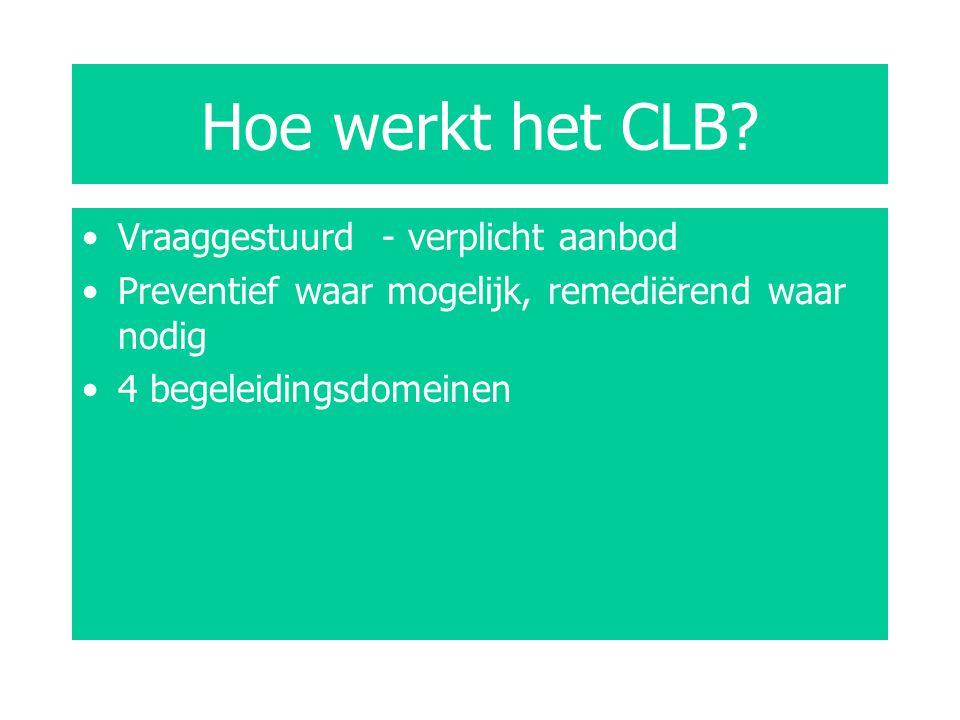 Hoe werkt het CLB? Vraaggestuurd - verplicht aanbod Preventief waar mogelijk, remediërend waar nodig 4 begeleidingsdomeinen