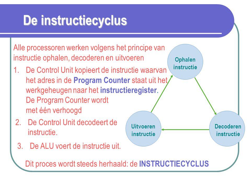De instructiecyclus Alle processoren werken volgens het principe van instructie ophalen, decoderen en uitvoeren Ophalen instructie Uitvoeren instructi