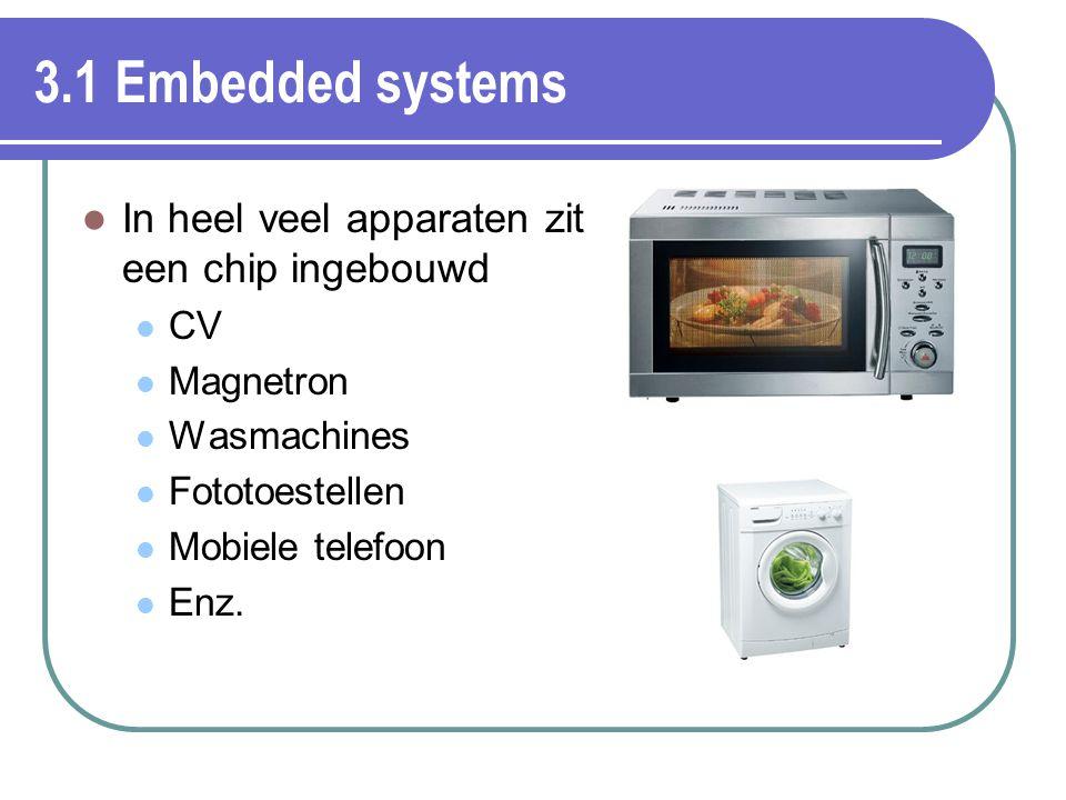 3.1 Embedded systems In heel veel apparaten zit een chip ingebouwd CV Magnetron Wasmachines Fototoestellen Mobiele telefoon Enz.