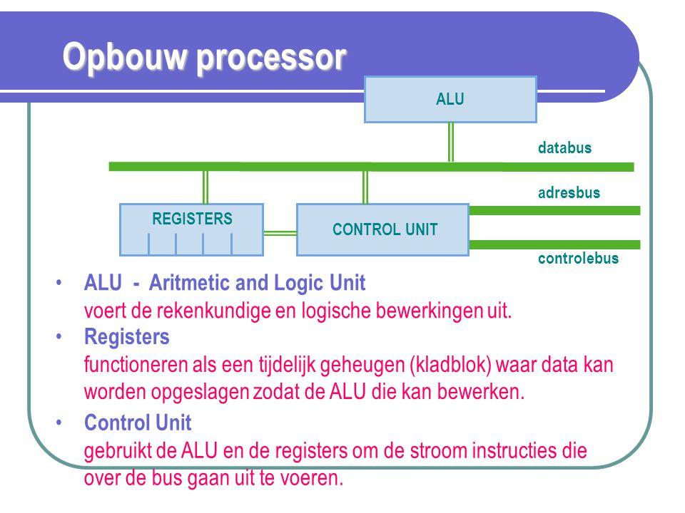 Opbouw processor ALU - Aritmetic and Logic Unit voert de rekenkundige en logische bewerkingen uit. ALU databus adresbus controlebus CONTROL UNIT REGIS