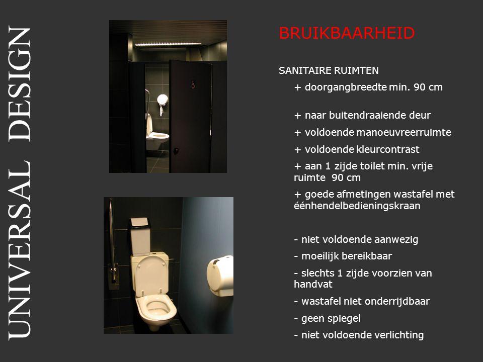 BRUIKBAARHEID SANITAIRE RUIMTEN + doorgangbreedte min. 90 cm + naar buitendraaiende deur + voldoende manoeuvreerruimte + voldoende kleurcontrast + aan