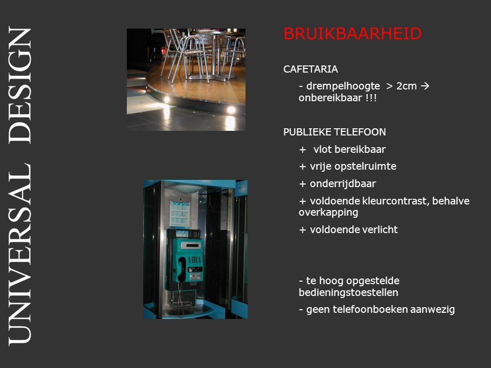 BRUIKBAARHEID CAFETARIA - drempelhoogte > 2cm  onbereikbaar !!! PUBLIEKE TELEFOON + vlot bereikbaar + vrije opstelruimte + onderrijdbaar + voldoende