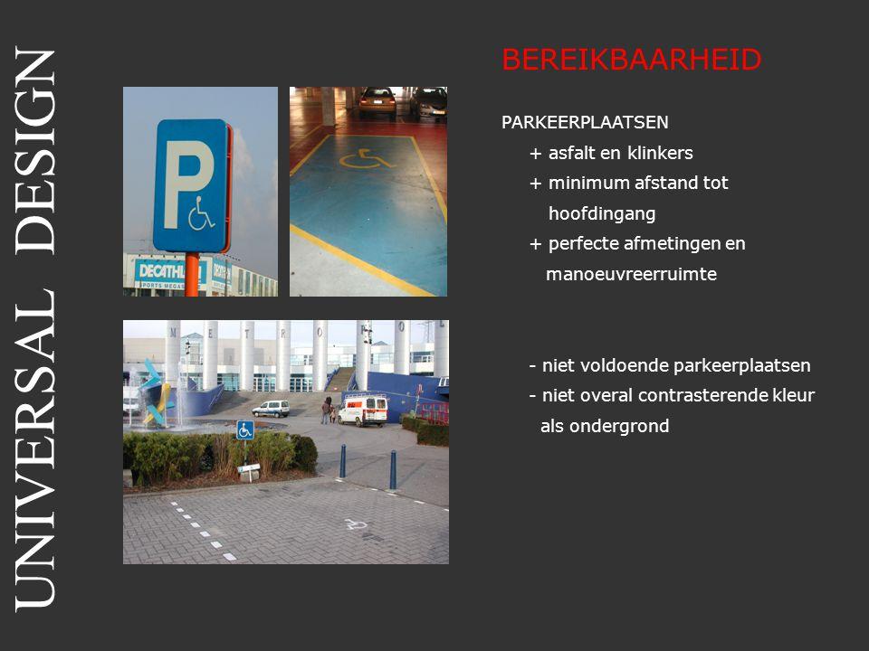 BEREIKBAARHEID PARKEERPLAATSEN + asfalt en klinkers + minimum afstand tot hoofdingang + perfecte afmetingen en manoeuvreerruimte - niet voldoende park