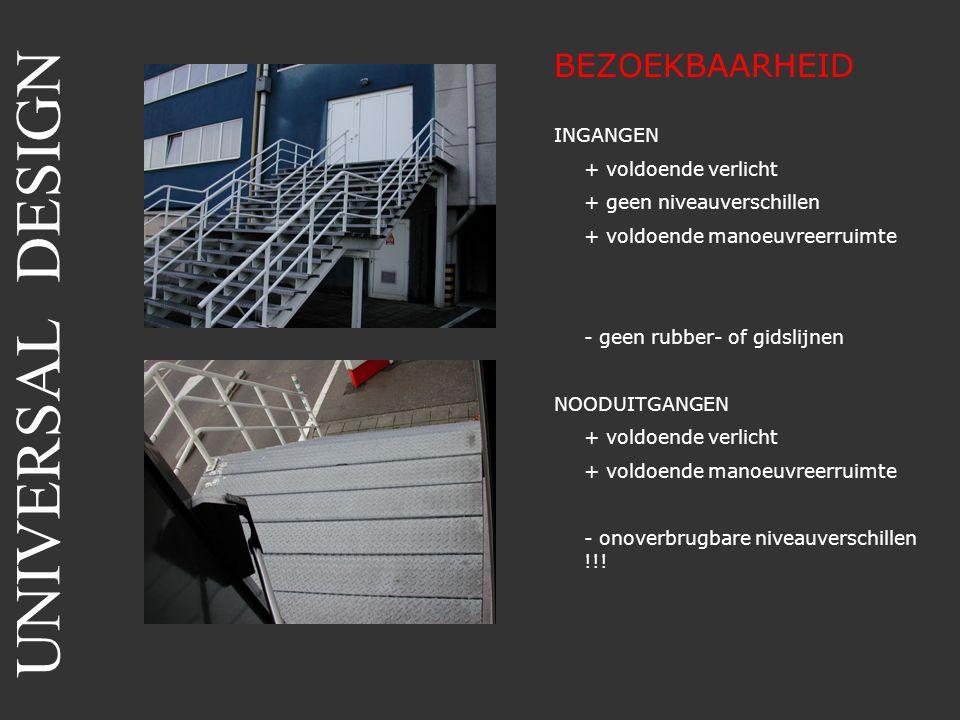 BEZOEKBAARHEID INGANGEN + voldoende verlicht + geen niveauverschillen + voldoende manoeuvreerruimte - geen rubber- of gidslijnen NOODUITGANGEN + voldo