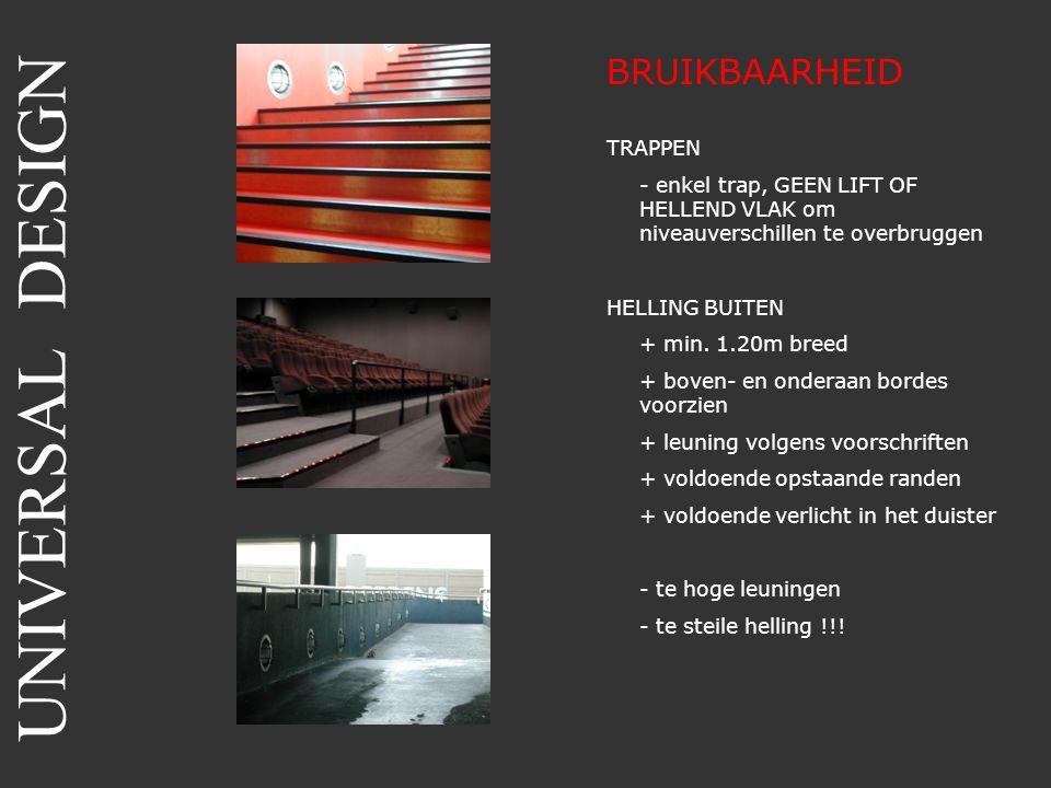 BRUIKBAARHEID TRAPPEN - enkel trap, GEEN LIFT OF HELLEND VLAK om niveauverschillen te overbruggen HELLING BUITEN + min. 1.20m breed + boven- en ondera