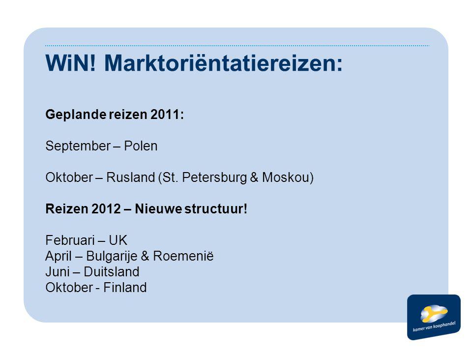 WiN. Marktoriëntatiereizen: Geplande reizen 2011: September – Polen Oktober – Rusland (St.