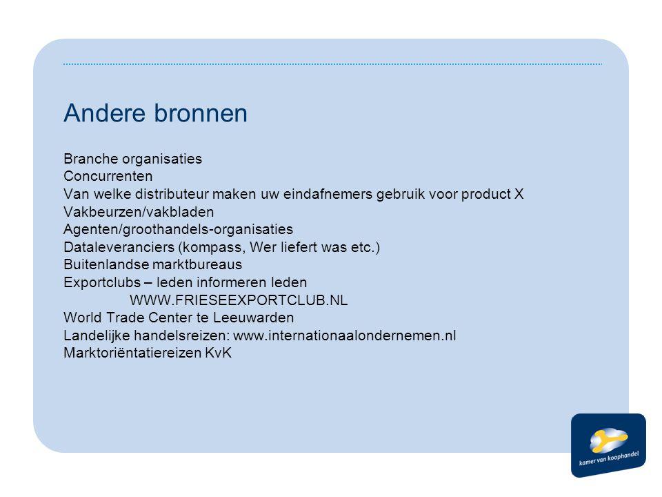 Welke exportbevorderings instrumenten zijn er: Kamer van Koophandel: - Regionaal: - WiN.