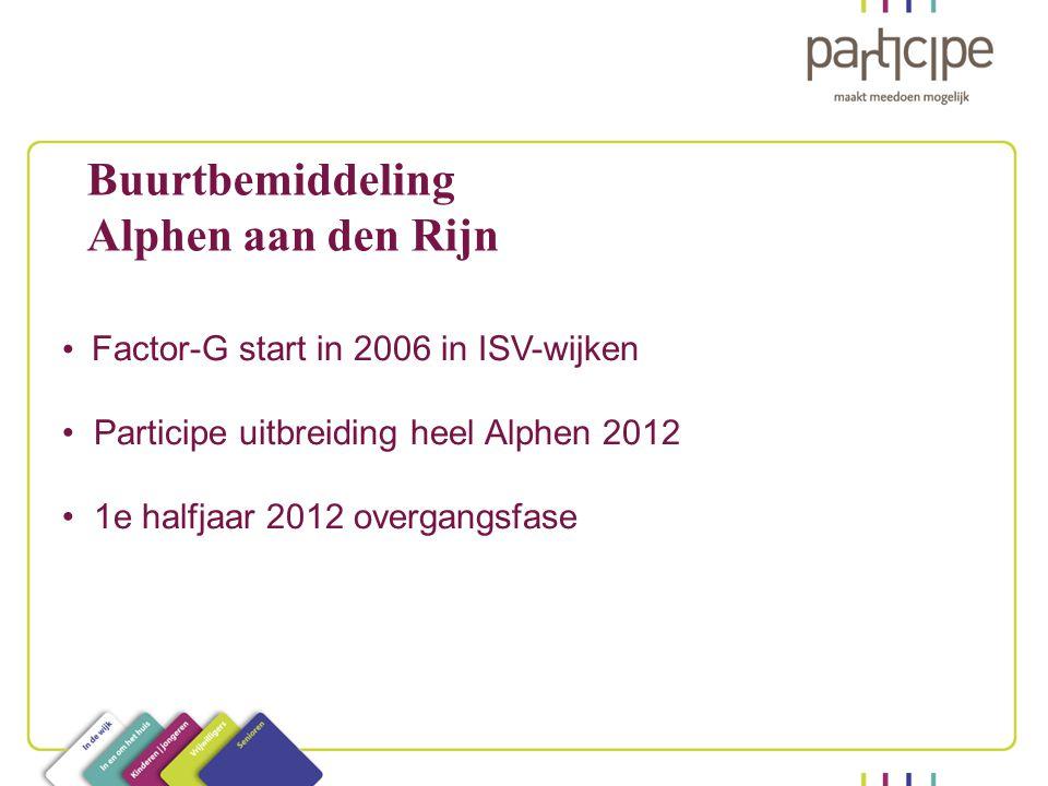Buurtbemiddeling Alphen aan den Rijn Factor-G start in 2006 in ISV-wijken Participe uitbreiding heel Alphen 2012 1e halfjaar 2012 overgangsfase