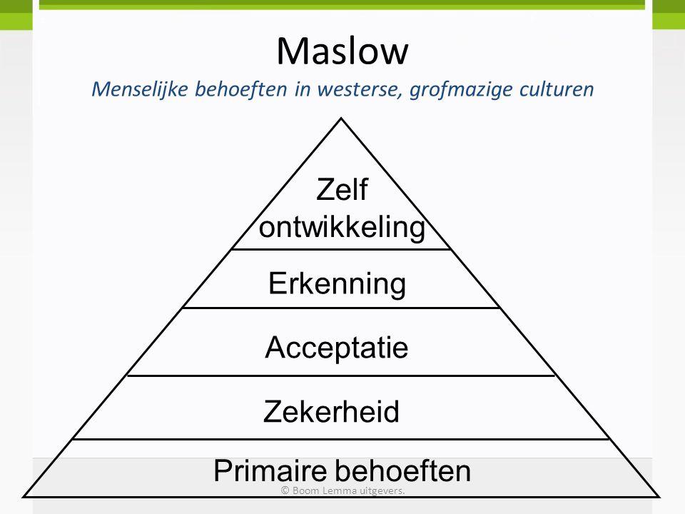 Maslow Menselijke behoeften in westerse, grofmazige culturen Primaire behoeften Zekerheid Acceptatie Erkenning Zelf ontwikkeling © Boom Lemma uitgever