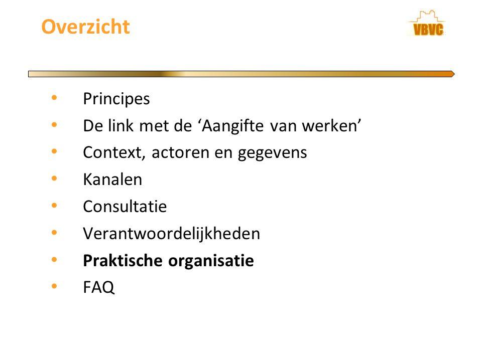 Overzicht Principes De link met de 'Aangifte van werken' Context, actoren en gegevens Kanalen Consultatie Verantwoordelijkheden Praktische organisatie FAQ
