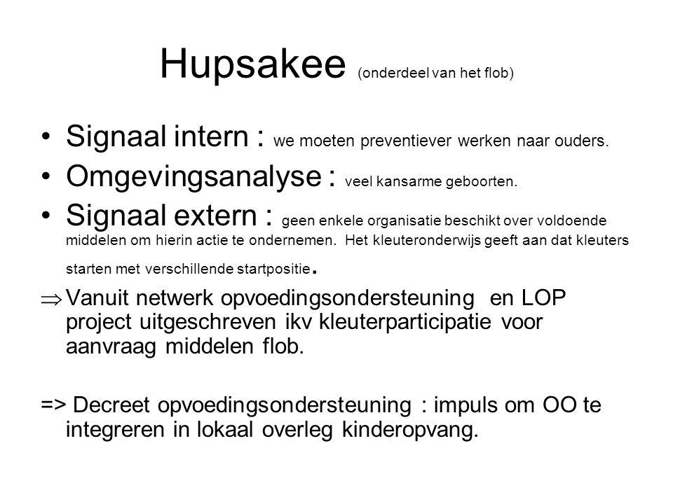 Hupsakee (onderdeel van het flob) Signaal intern : we moeten preventiever werken naar ouders.