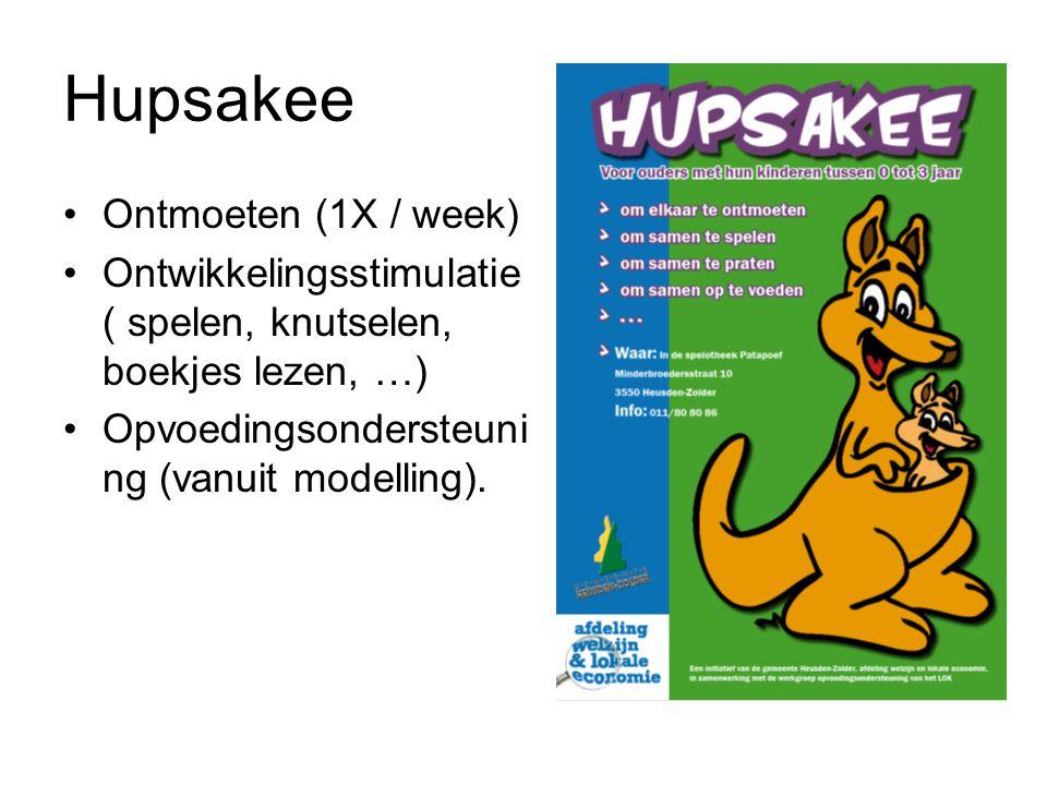 Hupsakee Ontmoeten (1X / week) Ontwikkelingsstimulatie ( spelen, knutselen, boekjes lezen, …) Opvoedingsondersteuni ng (vanuit modelling).