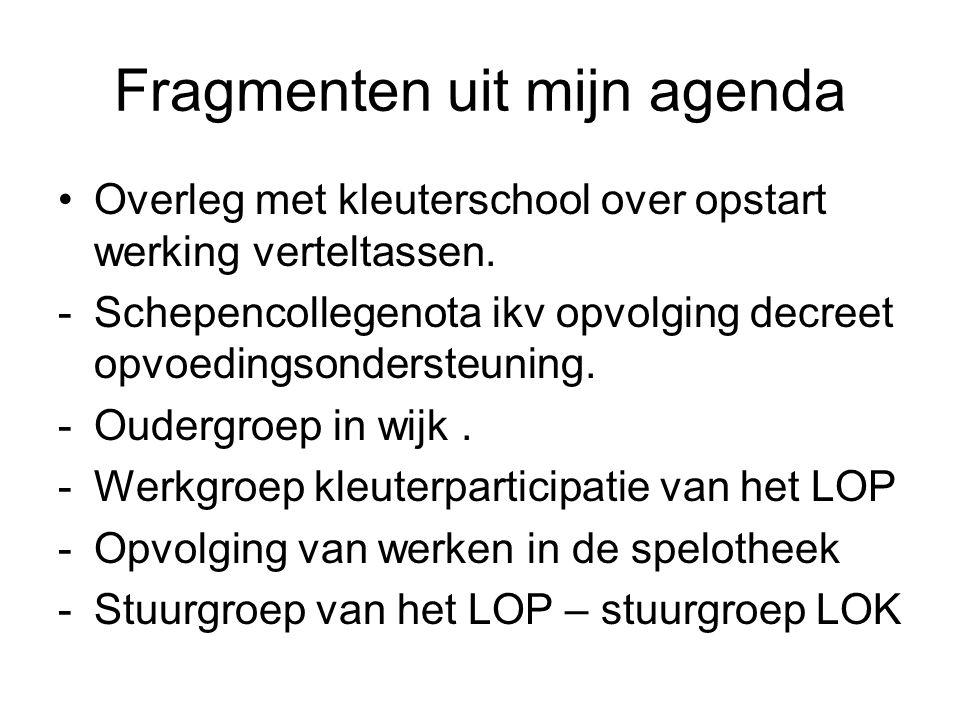 Fragmenten uit mijn agenda Overleg met kleuterschool over opstart werking verteltassen.