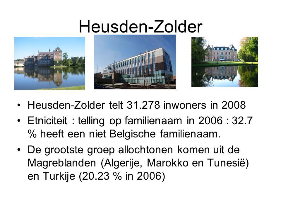 Heusden-Zolder Heusden-Zolder telt 31.278 inwoners in 2008 Etniciteit : telling op familienaam in 2006 : 32.7 % heeft een niet Belgische familienaam.