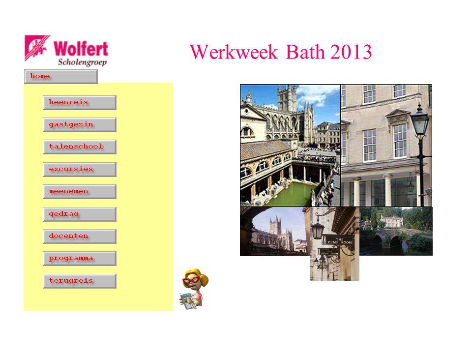 Heenreis datum zaterdag 5 oktober verzamelen school 06.45 uur vertrek uiterlijk 07.15 uur vertrek Calais (P&O ferries) 12.35 uur aankomst Bath 18.00 uur opgehaald door gastgezinnen Werkweek Bath 2013