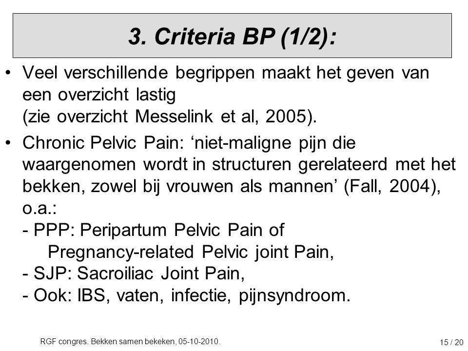 RGF congres. Bekken samen bekeken, 05-10-2010. 15 / 20 3. Criteria BP (1/2): Veel verschillende begrippen maakt het geven van een overzicht lastig (zi