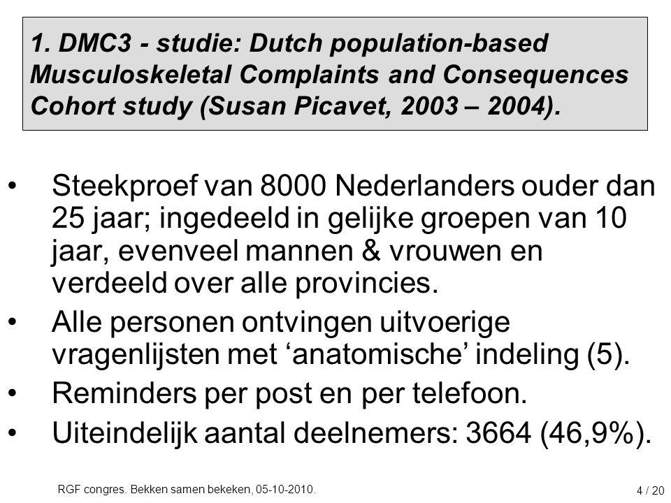 RGF congres. Bekken samen bekeken, 05-10-2010. 4 / 20 1. DMC3 - studie: Dutch population-based Musculoskeletal Complaints and Consequences Cohort stud