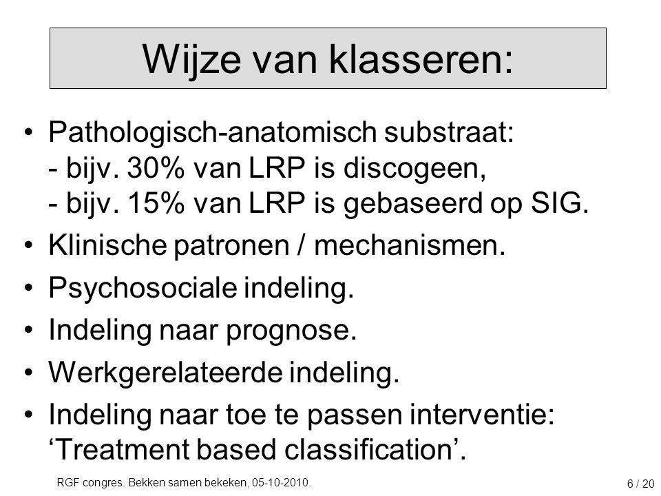 RGF congres. Bekken samen bekeken, 05-10-2010. 6 / 20 Pathologisch-anatomisch substraat: - bijv. 30% van LRP is discogeen, - bijv. 15% van LRP is geba