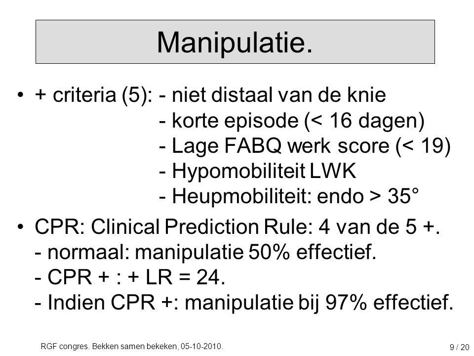RGF congres. Bekken samen bekeken, 05-10-2010. 9 / 20 + criteria (5):- niet distaal van de knie - korte episode ( 35° CPR: Clinical Prediction Rule: 4