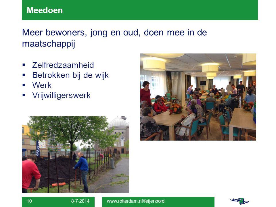 Meedoen Meer bewoners, jong en oud, doen mee in de maatschappij  Zelfredzaamheid  Betrokken bij de wijk  Werk  Vrijwilligerswerk. 8-7-2014 10 www.