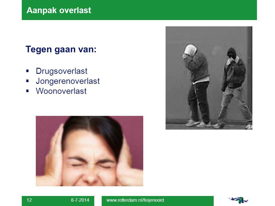 Aanpak overlast Tegen gaan van:  Drugsoverlast  Jongerenoverlast  Woonoverlast 8-7-2014 12 www.rotterdam.nl/feijenoord