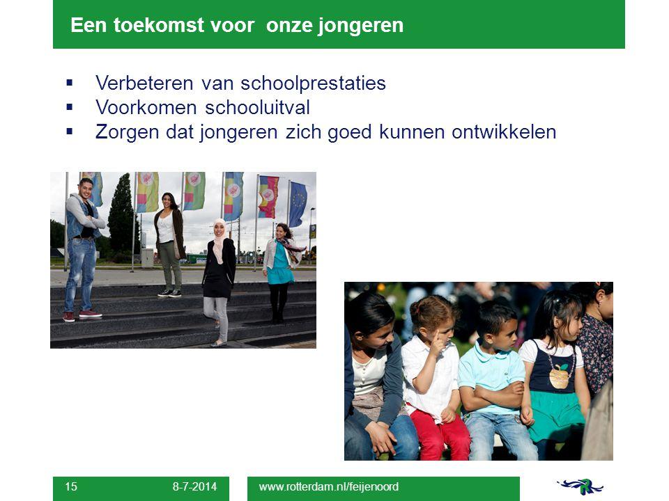 Een toekomst voor onze jongeren  Verbeteren van schoolprestaties  Voorkomen schooluitval  Zorgen dat jongeren zich goed kunnen ontwikkelen 8-7-2014