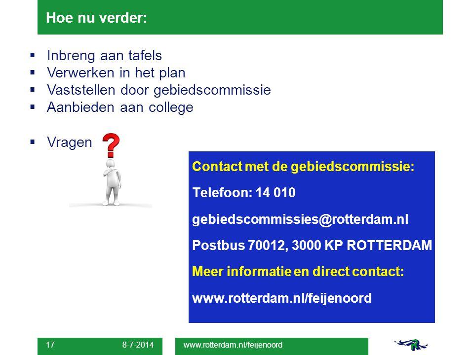 8-7-2014 17 Hoe nu verder: www.rotterdam.nl/feijenoord Contact met de gebiedscommissie: Telefoon: 14 010 gebiedscommissies@rotterdam.nl Postbus 70012,