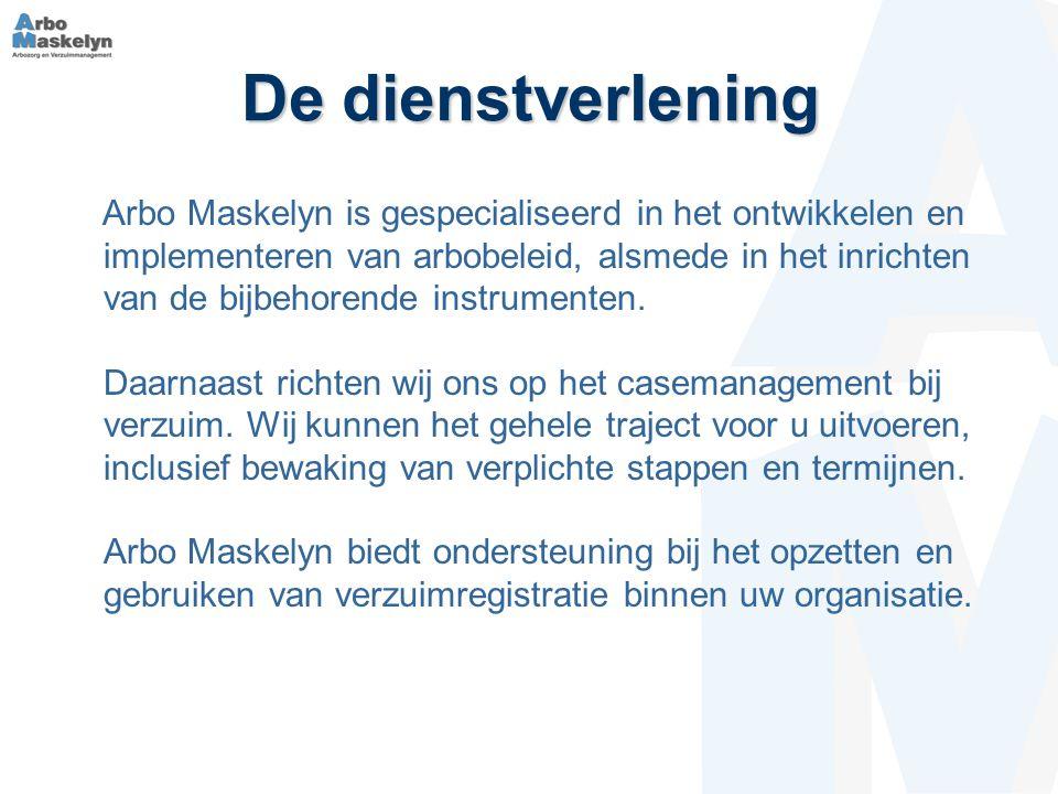 De dienstverlening Arbo Maskelyn is gespecialiseerd in het ontwikkelen en implementeren van arbobeleid, alsmede in het inrichten van de bijbehorende instrumenten.