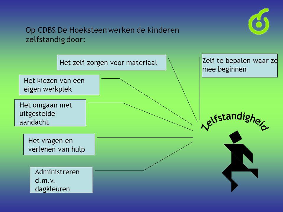 Op CDBS De Hoeksteen werken de kinderen zelfstandig door: Administreren d.m.v. dagkleuren Het vragen en verlenen van hulp Het omgaan met uitgestelde a