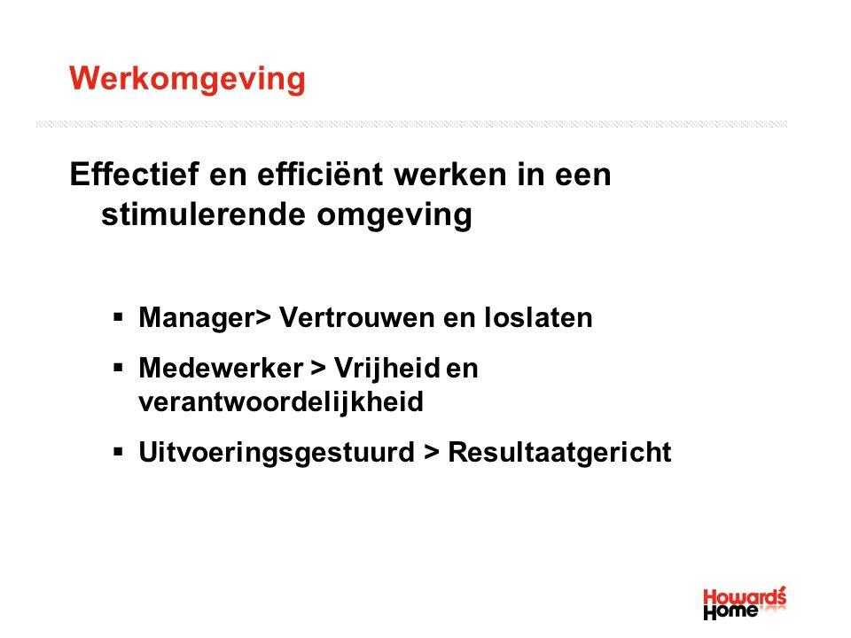 Werkomgeving Effectief en efficiënt werken in een stimulerende omgeving  Manager> Vertrouwen en loslaten  Medewerker > Vrijheid en verantwoordelijkh