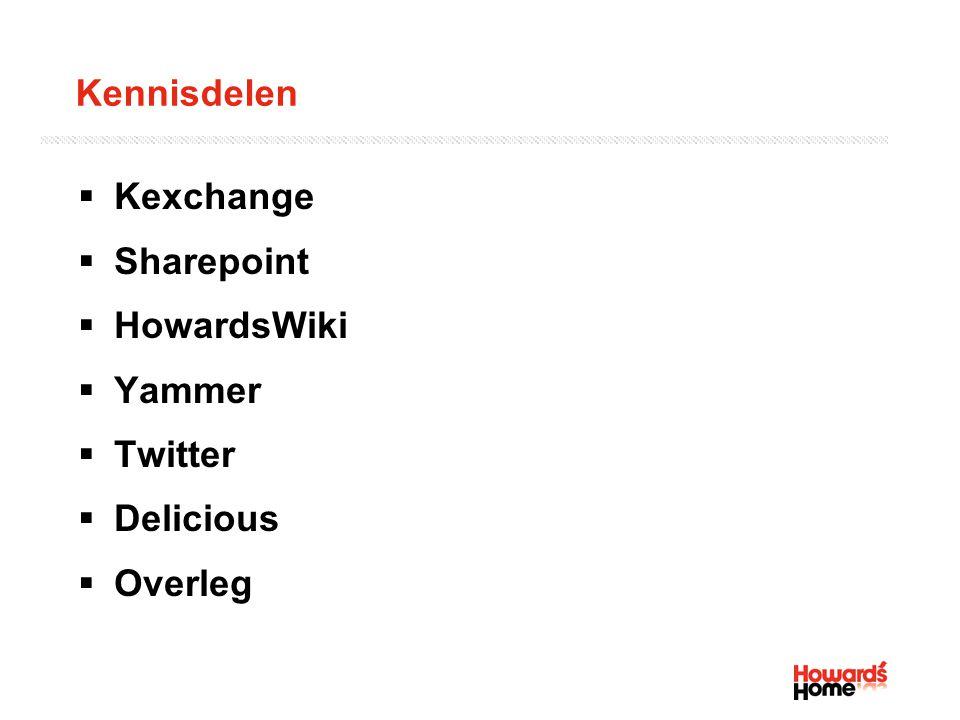 Kennisdelen  Kexchange  Sharepoint  HowardsWiki  Yammer  Twitter  Delicious  Overleg