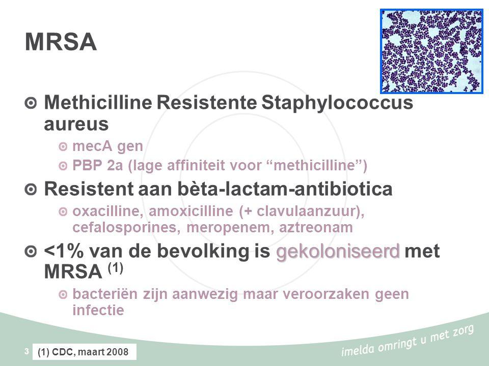 3 MRSA Methicilline Resistente Staphylococcus aureus mecA gen PBP 2a (lage affiniteit voor methicilline ) Resistent aan bèta-lactam-antibiotica oxacilline, amoxicilline (+ clavulaanzuur), cefalosporines, meropenem, aztreonam gekoloniseerd <1% van de bevolking is gekoloniseerd met MRSA (1) bacteriën zijn aanwezig maar veroorzaken geen infectie (1) CDC, maart 2008
