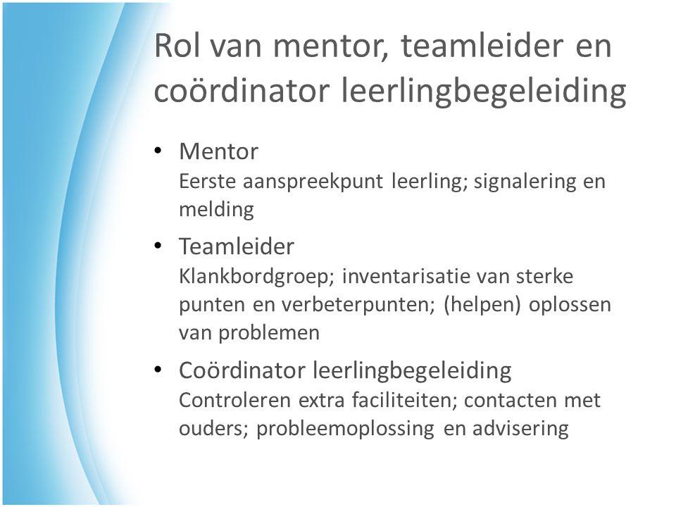 Rol van mentor, teamleider en coördinator leerlingbegeleiding Mentor Eerste aanspreekpunt leerling; signalering en melding Teamleider Klankbordgroep;