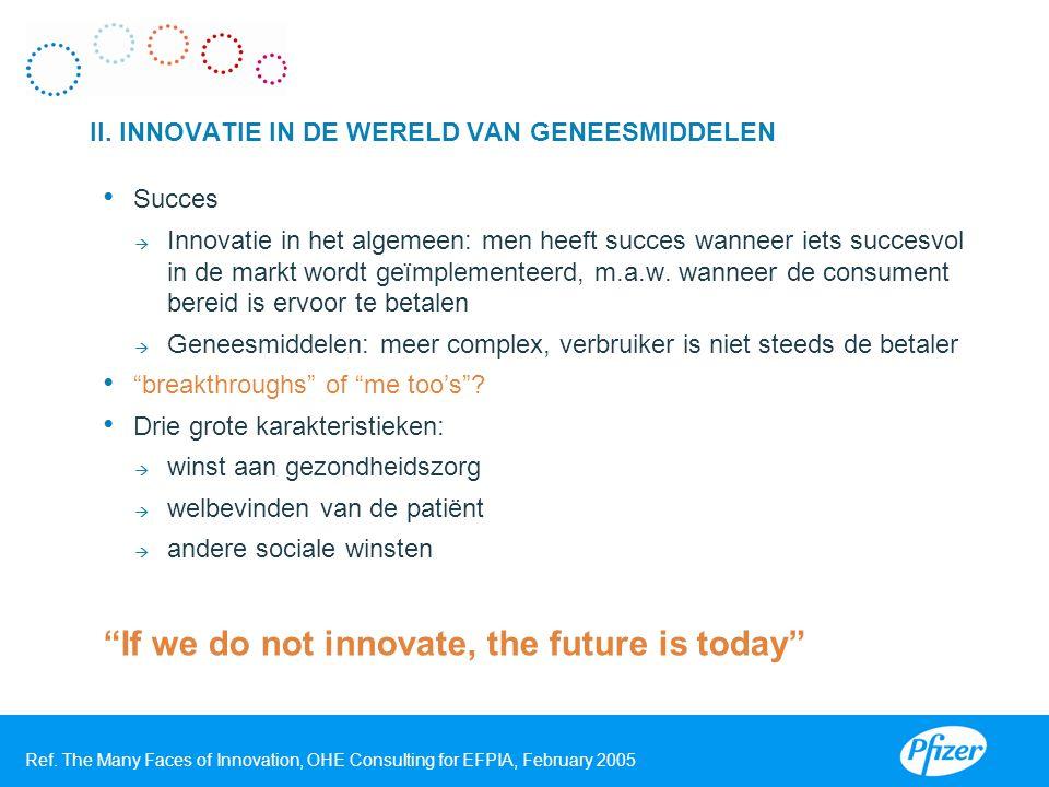 Succes  Innovatie in het algemeen: men heeft succes wanneer iets succesvol in de markt wordt geïmplementeerd, m.a.w. wanneer de consument bereid is e