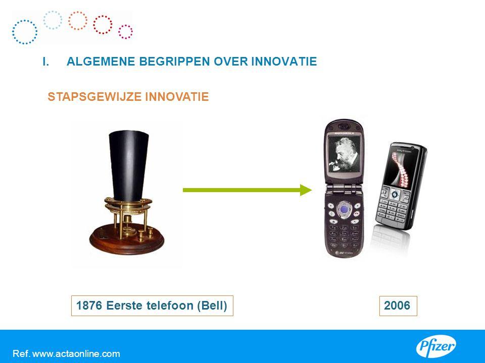 I.ALGEMENE BEGRIPPEN OVER INNOVATIE STAPSGEWIJZE INNOVATIE 1876 Eerste telefoon (Bell) 2006 V Ref. www.actaonline.com