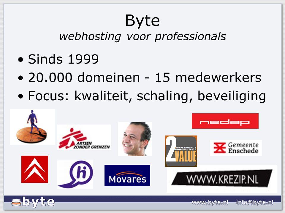Byte webhosting voor professionals Sinds 1999 20.000 domeinen - 15 medewerkers Focus: kwaliteit, schaling, beveiliging