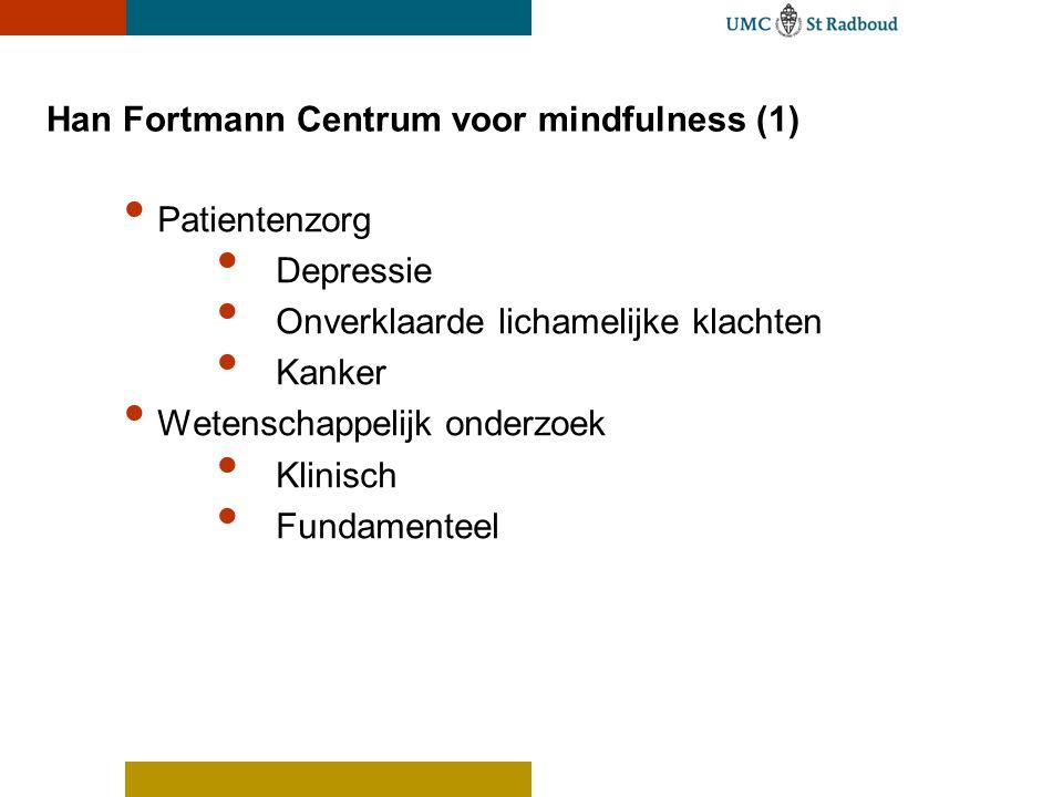 Han Fortmann Centrum voor mindfulness (1) Patientenzorg Depressie Onverklaarde lichamelijke klachten Kanker Wetenschappelijk onderzoek Klinisch Fundamenteel