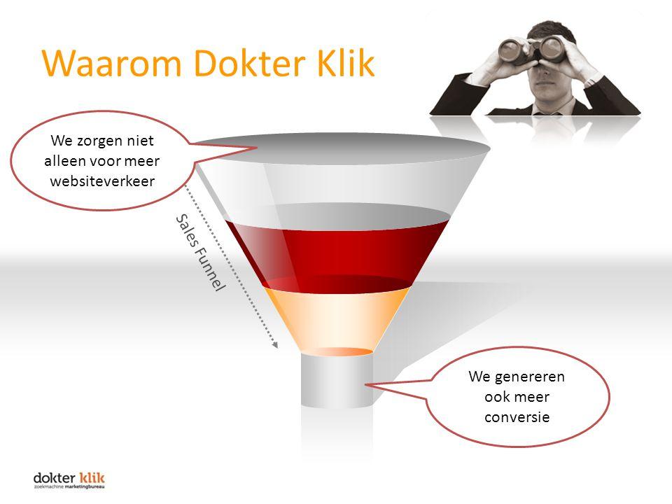 Waarom Dokter Klik Sales Funnel We zorgen niet alleen voor meer websiteverkeer We genereren ook meer conversie