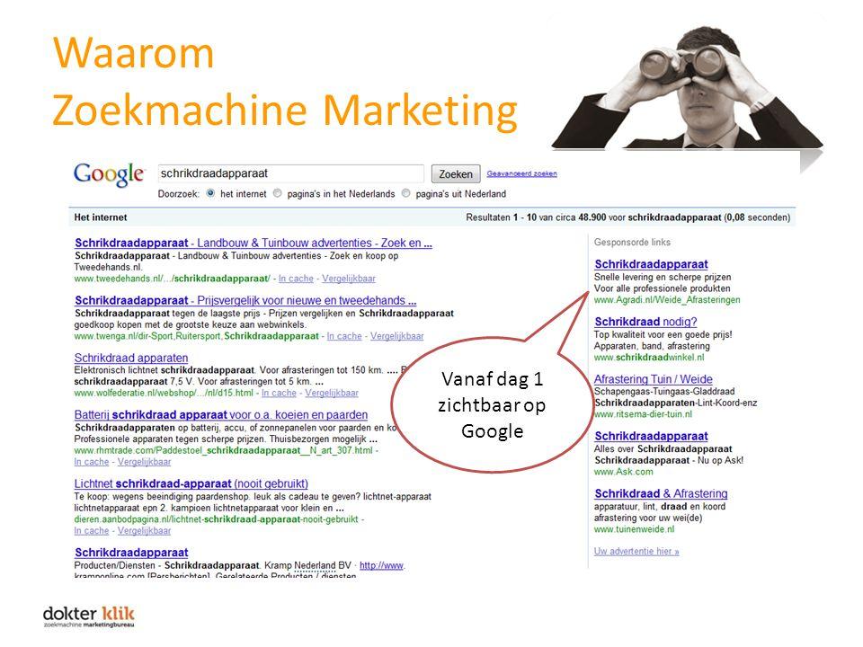 Waarom Zoekmachine Marketing Vanaf dag 1 zichtbaar op Google