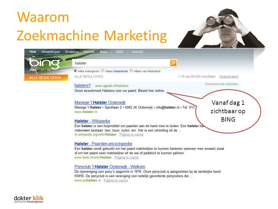 Waarom Zoekmachine Marketing Vanaf dag 1 zichtbaar op BING