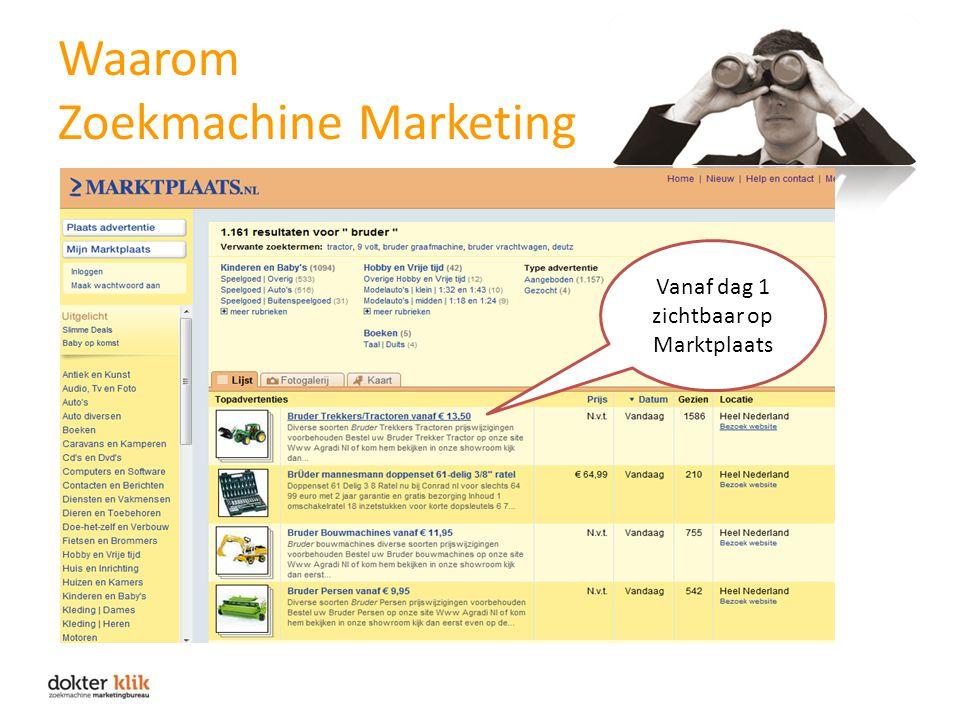 Waarom Zoekmachine Marketing Vanaf dag 1 zichtbaar op Marktplaats