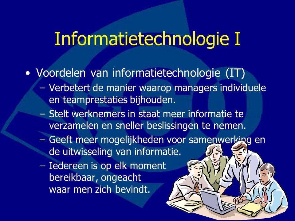 Informatietechnologie II Computernetwerken –Computers aan elkaar koppelen om zo een bedrijfsnetwerk te creëren voor communicatie en uitwisseling van informatie.